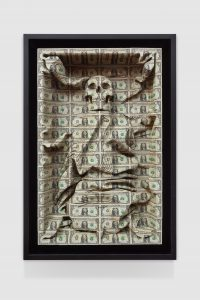 Scott Campbell, All the cares in the world, 2018 Cut US currency, 113.7 x 76.2 x 20.3 cm