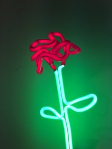 Image: 'Single Red Rose,' Jonathan Thomson, coloured neon, 51cm high, 2016.