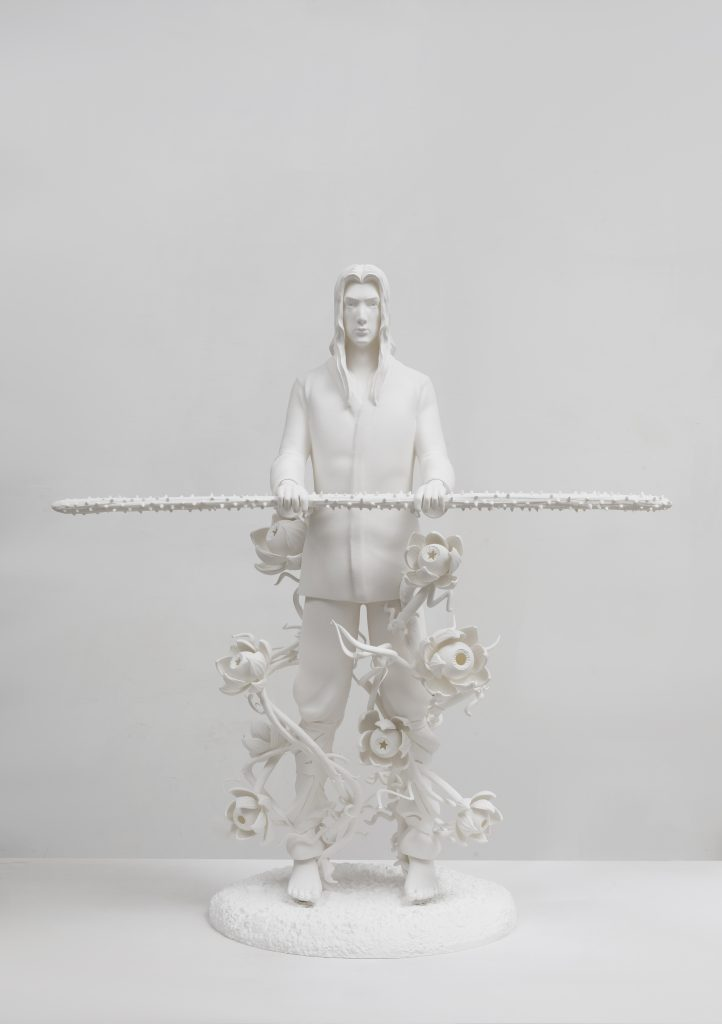 Against the blade of honour - Disciple, 64 × 81 × 36 cm, 5+1AP, 3D printing of photosensitive resin, painting, 2020